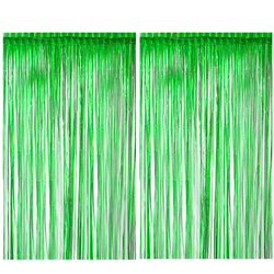 2Pack Foil Curtains Metallic Fringe green Curtains Shimmer Curtain for Birthday Wedding Party jungle party Decorations