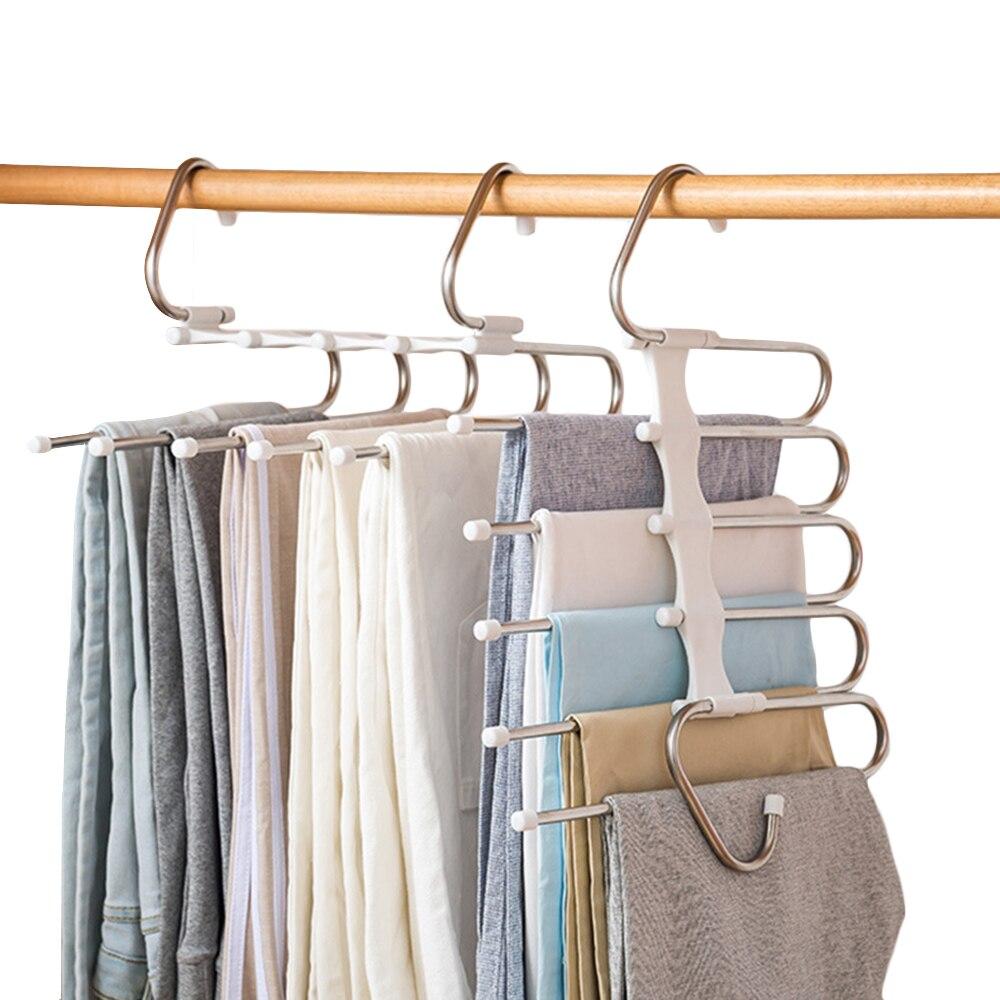 5 в 1 пара штанов, стеллаж для выставки товаров Многофункциональный полки Нержавеющаясталь мульти-функциональный шкаф Магия вешалка для брюк пальто организации хранения