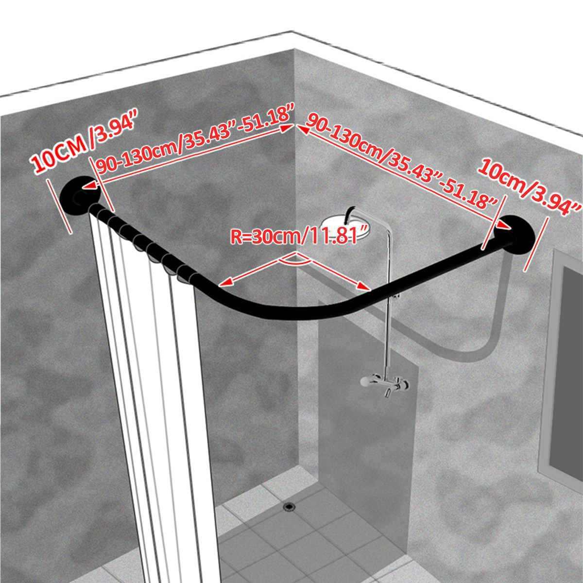 拡張可能なコーナーシャワーカーテンロッドポール 90-130 センチメートルステンレス鋼レールロッドバー高品質風呂ハードウェア重いロードされた