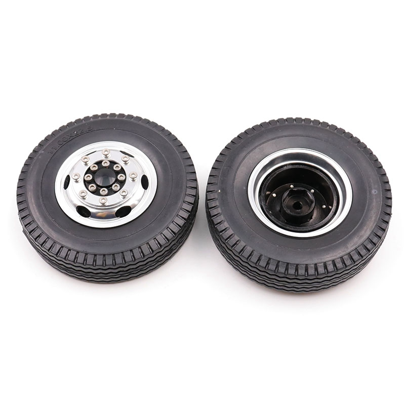 FBIL-<font><b>1/14</b></font> Front Rubber Loader Wheels with Rims for <font><b>Tamiya</b></font> <font><b>1/14</b></font> Scale Tractor Rear, for <font><b>Tamiya</b></font> <font><b>1/14</b></font> <font><b>RC</b></font> Tractor Trailer <font><b>Truck</b></font> image