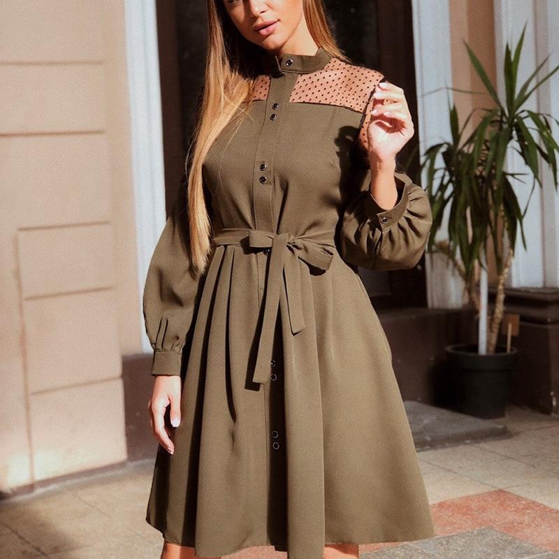 women casual sashes lace patchwork a line party dress ladies lantern sleeve elegant dress 2019 fashion women knee dress