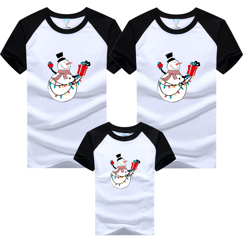2019 Christmas Snowman Family Clothing Family Look Mother Daughter Shirt Clothes Family Matching Outfits Father Son T-shirt
