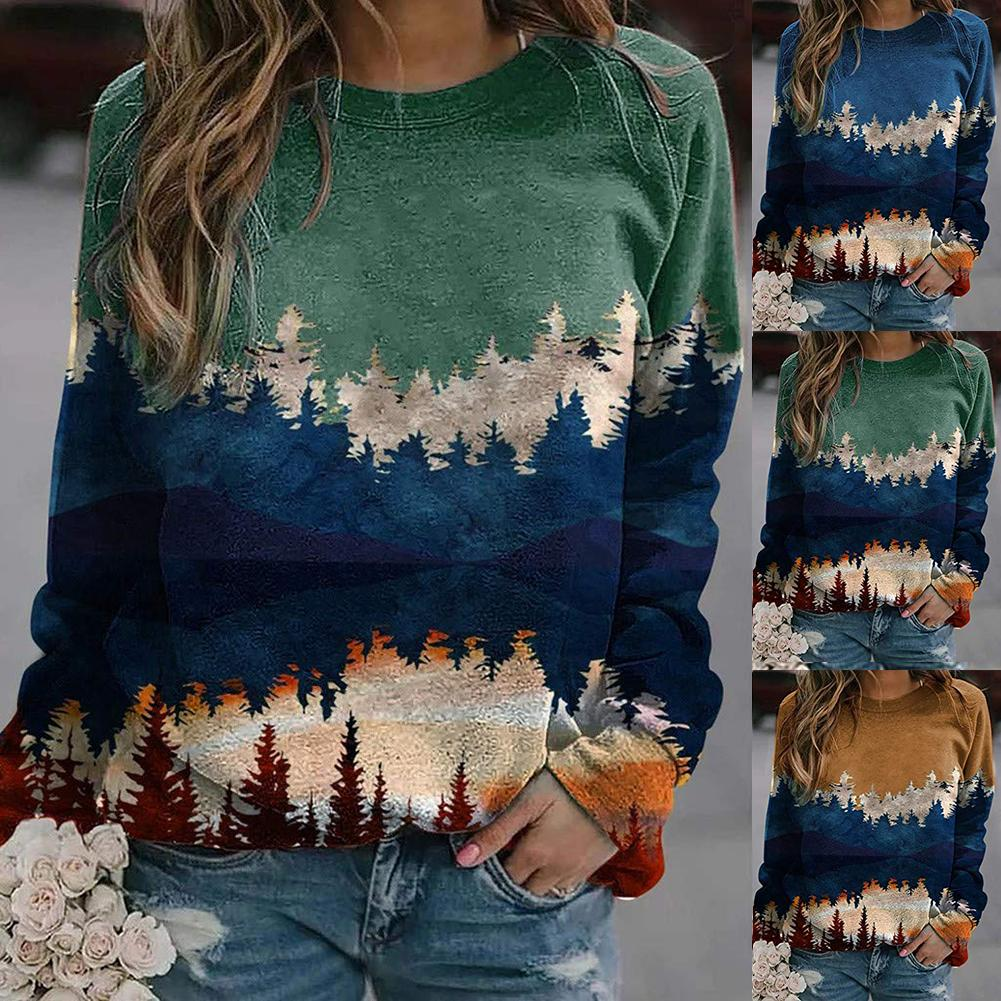 Women Autumn Mountain Tree Print Long Sleeve Crew Neck Blouse Sweater|Pullovers|   - AliExpress