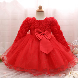 1St Birthday Dress For Baby Girls Long Sleeve Party Dress NewBorn Christmas Red Clothing 1 2 Years Old Toddler Christening Gowns