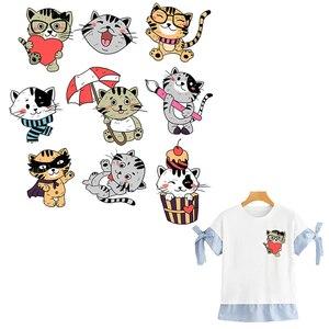 9 шт./компл. Cat патч милая маленькая Кошка наклейки Утюг на теплопередача Модный чехол типа «сделай сам аксессуар одежда аппликации на одежде
