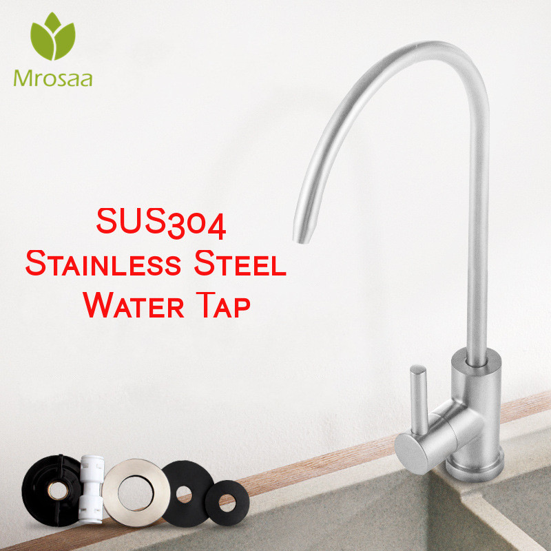 Kitchen Faucet 304 Stainless Steel Reverse Osmosis Faucet Water Filter Purifier Single Lever Hole Direct Drinking Tap Cold Water