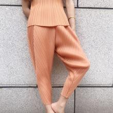 LANMREM 2020 nueva moda de primavera ropa de mujer vintage plisada alta cintura tobillo-longitud Pantalones Mujer Pantalones WH81115