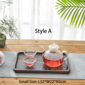 Image 2 - 3 piece Set Paulownia Wood Serving Tray Tea Tray Food Tray Rectangular Wood Chinese Gongfu Tea Set Tray