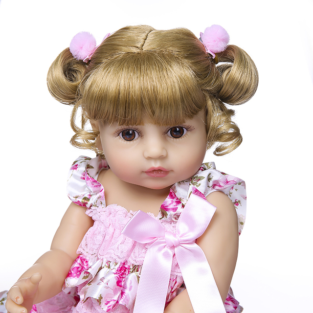 NPK 55CM bebe doll reborn toddler girl doll full body silicone morbido vero tocco flessibile anatomicamente corretto