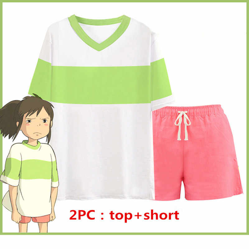 Cosplay Spirited Away Chihiro Ogino Costume Japan Anime Casual Costumes T Shirt Shorts Sets Cosplay Clothes Free Shipping Aliexpress