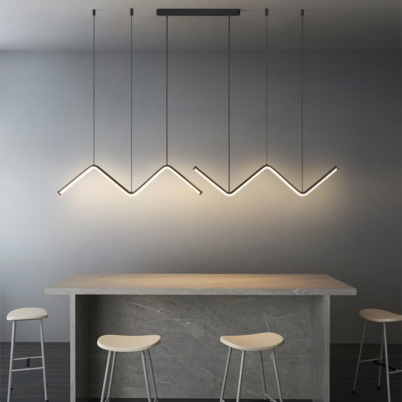 LED Black Long Chandelier Restaurant Bar Modern Simple Gold Long Pendant Lamp Dining Room Coffee Shop Round Rings Hanging Light