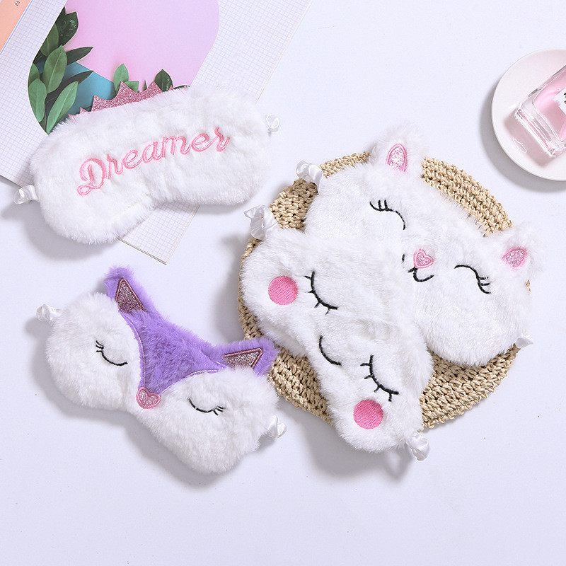 Sleep Eye Mask Cute Plush Fox Cloud Sheep Dream Eye Cover Sleeping Mask Eye Band Shade Blindfold Goggles Relax Travel Eyepatch