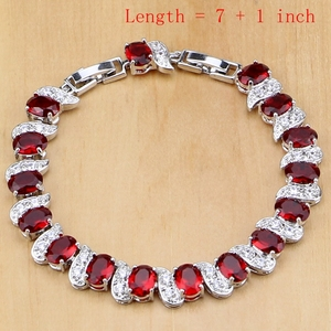 Image 2 - Naturalne 925 srebro biżuteria czerwony Birthstone Charm zestawy biżuterii kobiety kolczyki/wisiorek/naszyjnik/pierścień/bransoletki T055