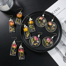 New Fashion Eternal Flower Earrings For Women Girls Freshwater Pearl Earing Jewelry Wholesale Pendientes Vintage