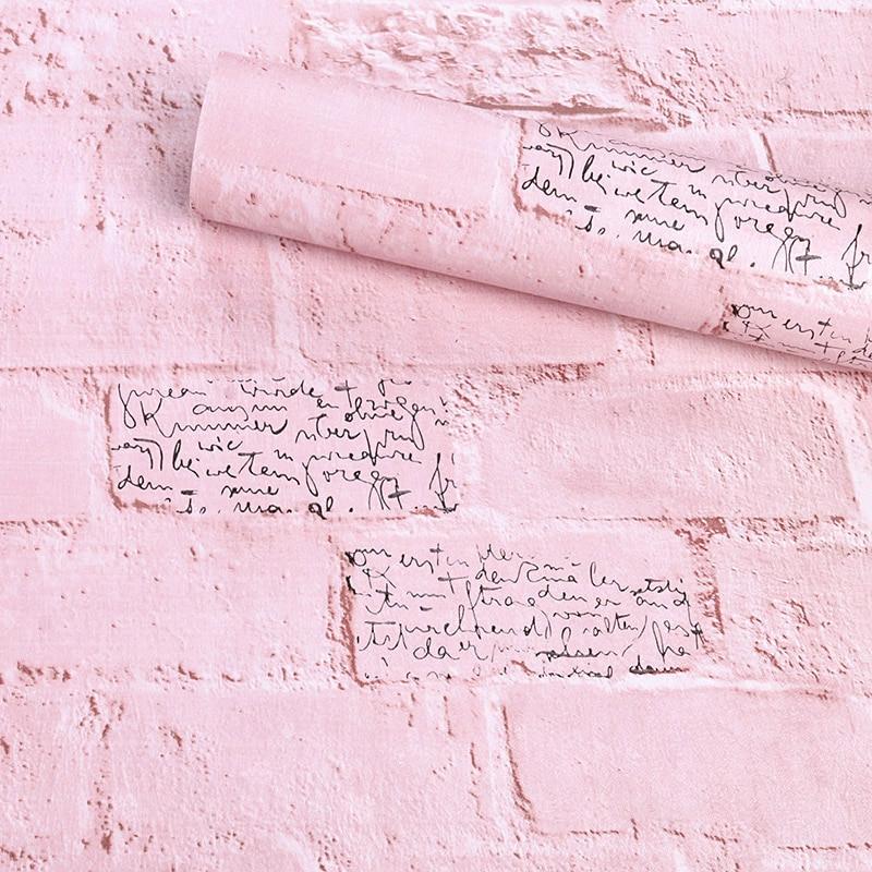 Pink Wallpaper Warm Bedroom Princess Pink Brick Wall Paper Brick Pattern Wallpaper Mediterranean Dormitory Bedroom Decoration