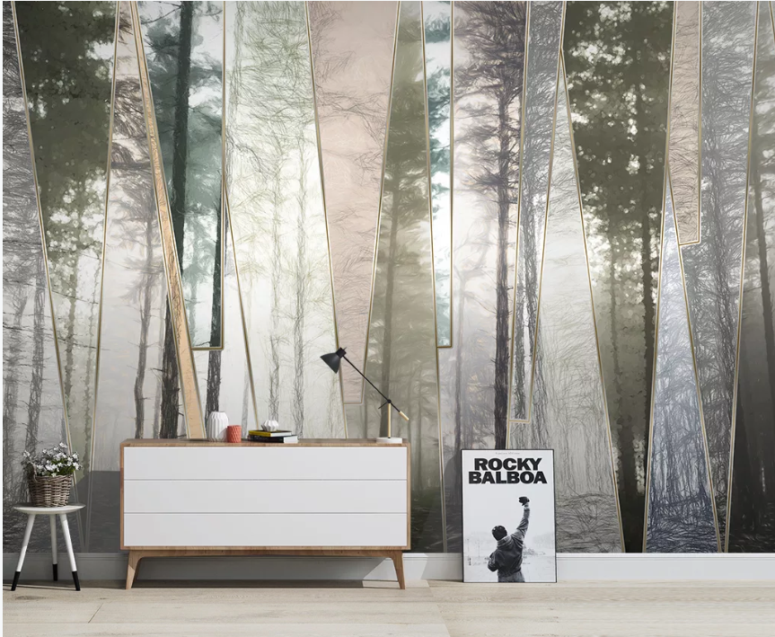 Custom Nordic Hand-painted Forest Landscape Geometric Lines TV Sofa Background Wallpaper Mural