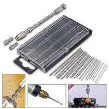 1 conjunto mini ferramentas de broca mão micro torção broca hss bits com semi-automática broca terno micro hobby artesanato jóias madeira