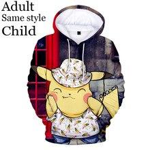 Модель 2020 3Д Покемон Пикачу толстовка с капюшоном мальчик девочка мультфильм милый толстовка мужская карманные Женские толстовки