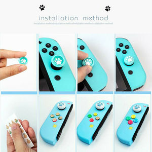 Image 5 - 1Set Silicone Cat Paw Thumb Grip Caps Cover & 8Pcs ABXY Directions Key Buttons Sticker for Nintendo Switch Joy Con Joystick
