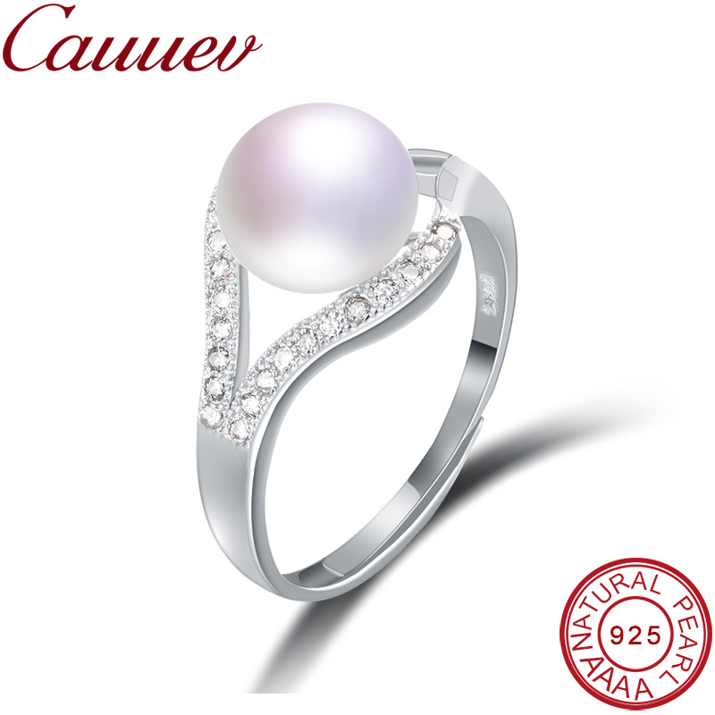 Cauuev 100% Real Freshwater Pearl Ring For Women 925 Sterling Silver Adjustable  Ring  AAAA Natural Pearl Wedding Rings  Jewelry