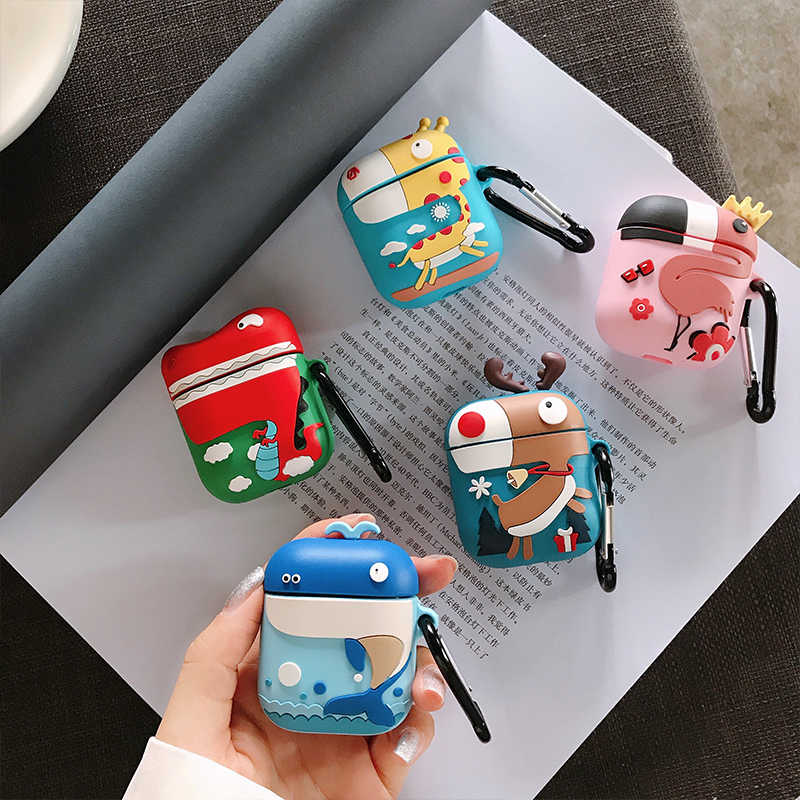 Q UNCLE for Apple AirPods2 Bluetooth Headset Protection Kit Fashion Wireless Soft Silicone Sex Couple Cartoon Dinosaur Pendant