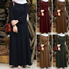ZANZEA Women Vintage Dubai Abaya Turkey Hijab Dress Autumn Sundress Solid Muslim Islamic Clothing Long Sleeve Maxi Long Dress 4