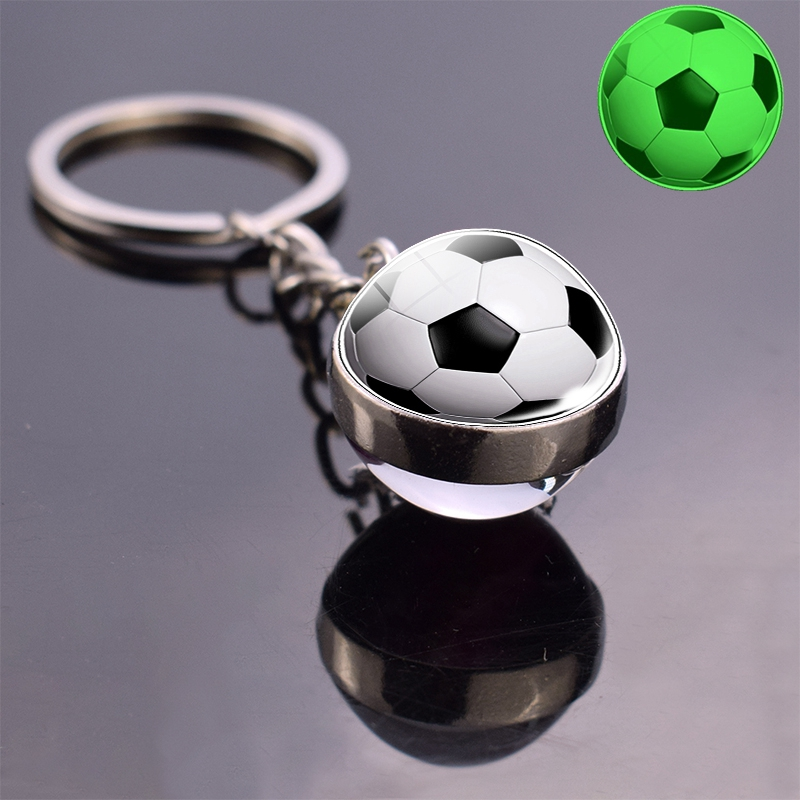 Soccer Glass Ball Keychain Glow In The Dark Football Basketball Baseball Volleyball Tennis Rugby Softball Luminous Glass Keyring
