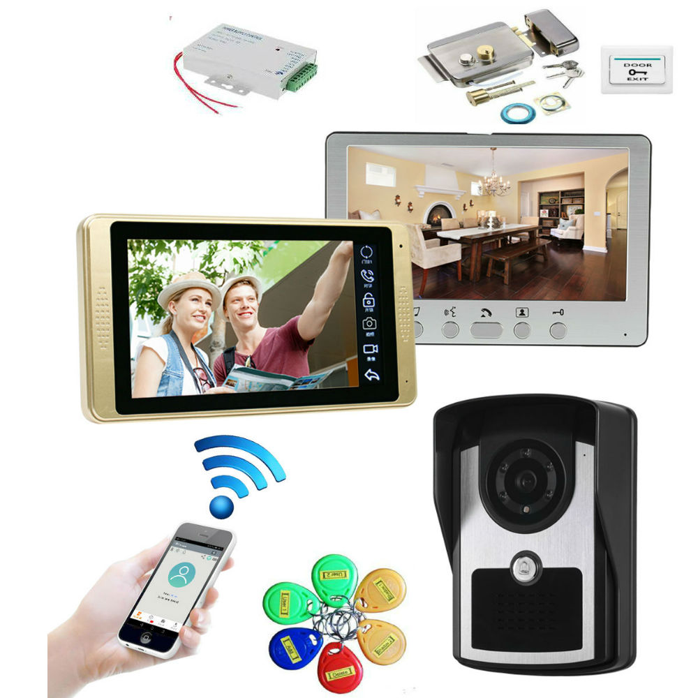 2 Monitors 7inch Wired Wifi RFID Video Door Phone Doorbell Intercom Entry System With Wired IR 1000TVL Wired Camera