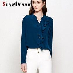 Блузка женская, офисная, 16 мм, из 100% натурального шелка, с длинным рукавом и оборками, 2019