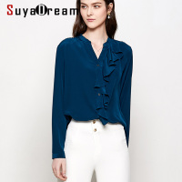 Women Blouse 100% Natural silk Office Lady Blouses Long sleeved Ruffles trims Blouse for women Blusas femininas 2020 New