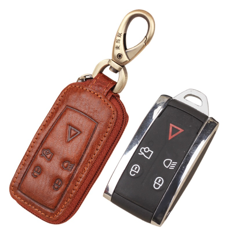 Happyit Leather Car Key Cover Case Keychain for Jaguar XK XF XJ8 XK8 XRR 2007-2011 2012 2013