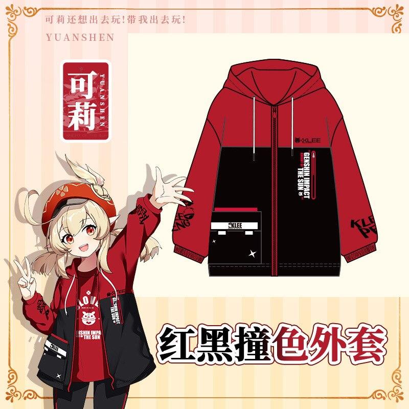 Presale Anime Genshin Impact Klee Fashion Red Black Cardigan Hooded Coat Men Women Plush Hoodie Jacket Long Sleeve Pullover Tops