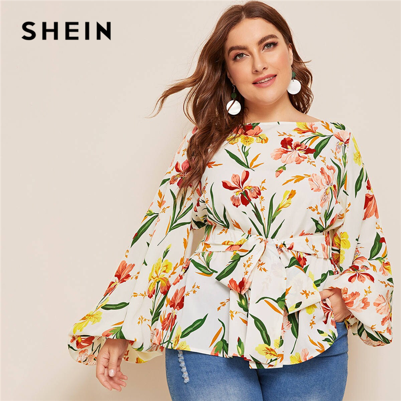 SHEIN Plus Size Multicolor Lantern Sleeve Belted Floral Print Blouse Top Women Spring Autumn Boat Neck Elegant Boho Plus Blouses