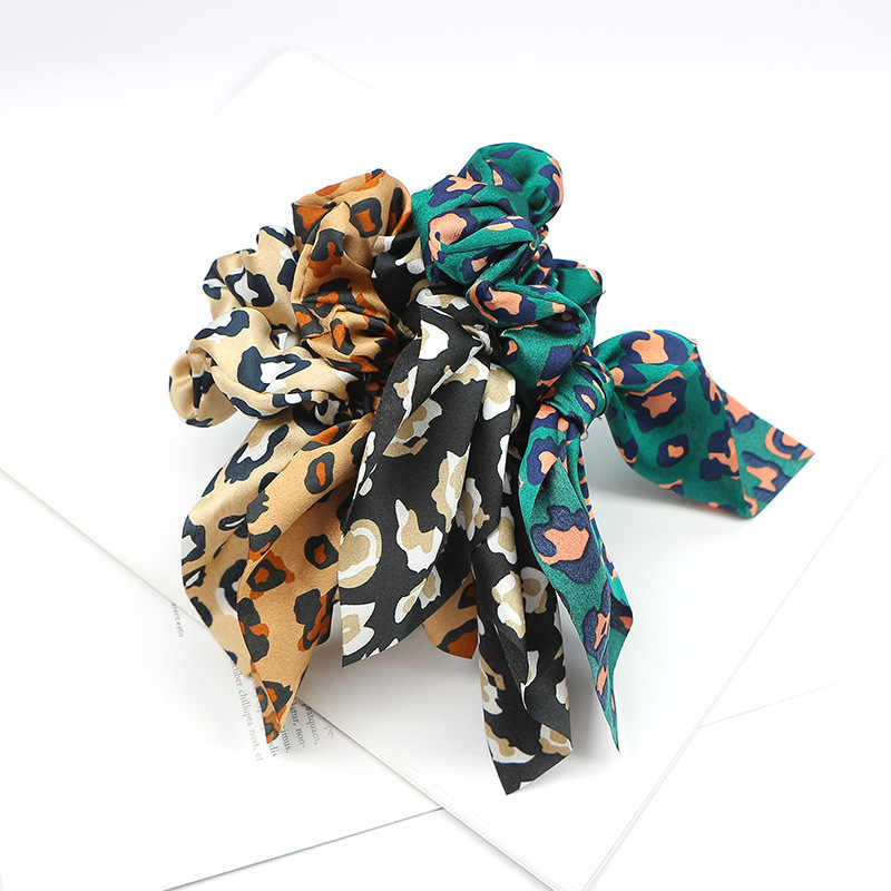 1 قطعة جديد أزياء الفتيات الصيف ليوبارد Scrunchie ل المطاط القوس الشعر حبل خاتم الشعر مطاطا العصابات الشعر Accessoiries للنساء