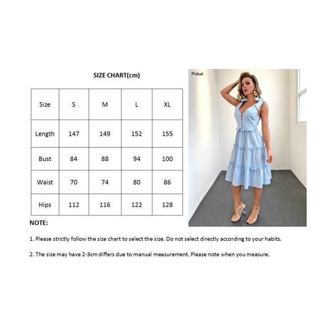 Pofash Blue Solid Midi Dress Women Spaghetti Strap Bow Sleeveless Ruffle Summer Dress V Neck Button Backless Sexy Vestidos 2021 6