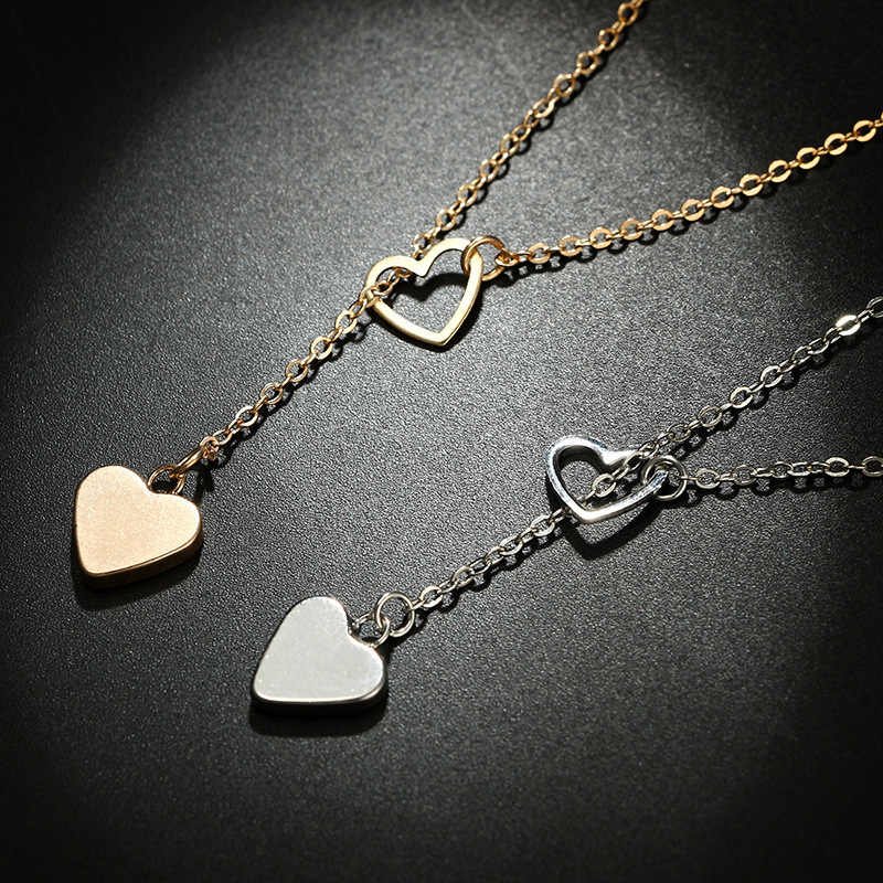 Heart Pendant Necklaces For Women Girl Daughter Tiny Necklace Simple Gold Silver Fashion Jewelry Gift Party Wedding Accessories