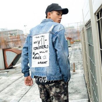 Japanese retro jean bomber jacket streetwear casual Harajuku fashion cowboy coat 2019 autumn vintage denim jackets men's hip hop