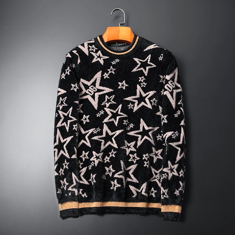 New 2019 Men Luxury Winter Hot Stars Stripes Embroidered Casual Sweaters Pullover Asian Plug Size High Quality Drake #N39