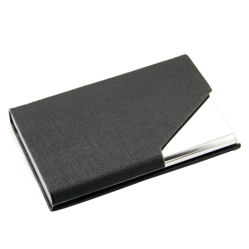 Metal Business Card Holder Business Lattice Pattern Card Box (black)