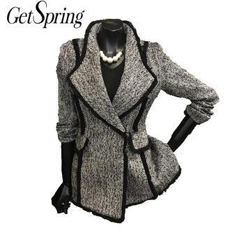 GETSRING, abrigos de lana para mujer, abrigo corto de lana con temperamento, de un solo botón, manga larga, abrigo de lana Delgado, Tops para mujer, todos los partidos, otoño XL