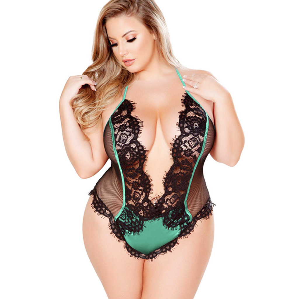 M-4XL Plus Size Sexy Lace Lingerie Erotic Deep V Neck Perspective Sexy Underwear Babydoll Sex Costumes Porn Teddy Sleepwear 2019