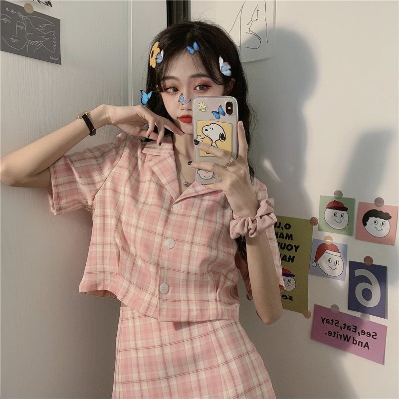Japanese Style Outfit Vintage Polo Short Sleeve Shirt High Waist A-Line Kawaii Mini Skirt Sweet Pink Plaid Suit Two Piece Set