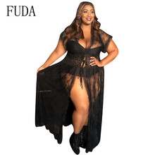 FUDA Women Large Size 4XL Lace Patchwork Long Maxi Dress Short Sleeve Summer Perspective Mesh Sexy Femme Dresses Robe Longue