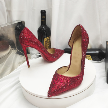 Wedding Season Bling Bling Crystal Iriza Style Black Red Silver Genuine Leather Insoles  Fashion Women High Heels Shoes