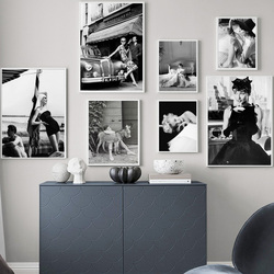 Fashionable Hepburn Monroe black and white wall art canvas painting Nordic posters and prints living room decoration painting