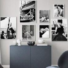 Modny Hepburn Monroe czarno-biały obraz ścienny na płótnie Nordic plakaty i druki salon ozdobny obraz