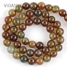 Natural Gem Stone Coffee Dragon Veins Agates Beads For Jewelry Making 4 6 8 10 12mm Round Loose Diy Bracelet Necklace 15