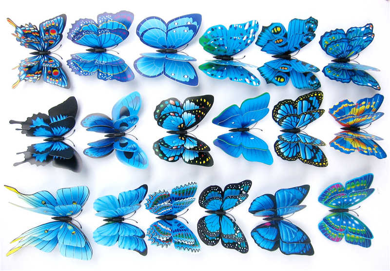 Creativo adhesivo 3D de doble ala de color azul para pared de mariposa para decoración de sofá, TV, Fondo de pared, decoración del hogar