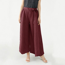 Women's Clothing Large 2021 Autumn Vintage Design Solid Color Loose Stretch Miyake Pleated Wide Leg Pants Plus Size