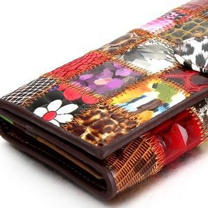 Image 5 - Westal bolsa de embreagem feminina carteira feminina couro genuíno colorido moeda bolsa feminina carteiras de couro feminino dinheiro sacos 4202